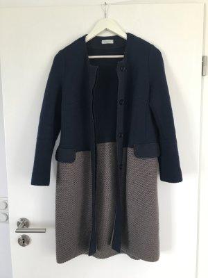 Manteau en laine bleu foncé-marron clair