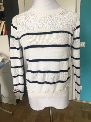 Hochwertiger Pullover von Desigual, S, weiß-blau gestreift mit vielen Details