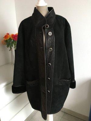 Vintage Abrigo de cuero negro