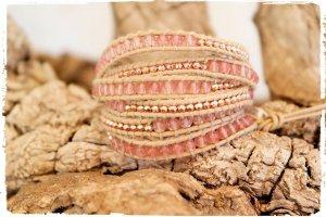 Bracelet en cuir beige-rosé cuir