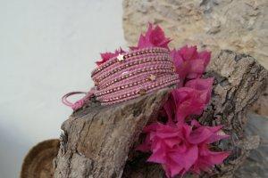 hochwertiges Leder Wickelarmband mit rosegold nougets