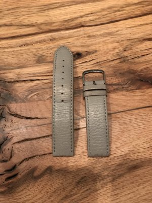 Watch silver-colored-grey leather