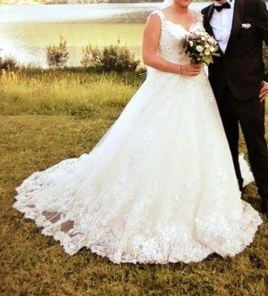 Hochzeits-/ Brautkleid mit Blumen Spitze weiß Gr. 40/42 mit Reifrock