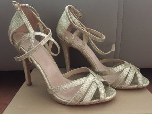 Strapped High-Heeled Sandals gold-colored