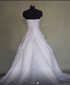 100% Fashion Robe bandeau blanc-bleu foncé