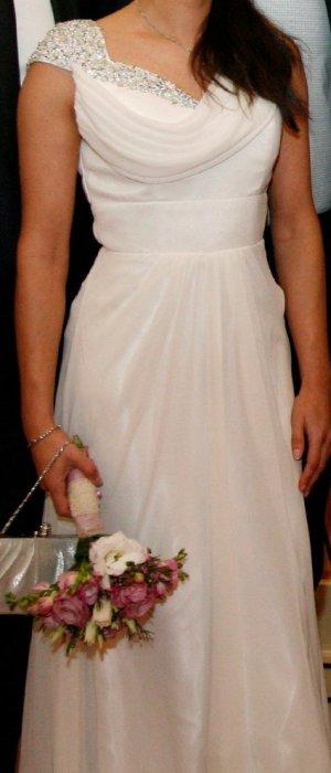 Hochzeitskleid, Abendkleid, Elfenbein, U-Boot-Ausschnitt (XS)