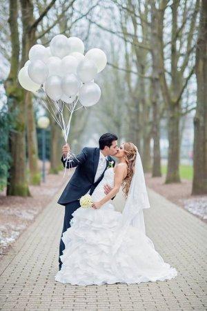 Hochzeitskleid Braut Organza Elfenbein Rüschen Meerjungfrau XS 34