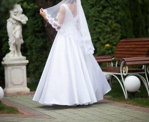 Hochzeitskleid Brautkleid A-Linie Spitze Perlen S-M