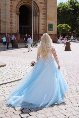 Hochzeitskleid Brautkleid Kleid Abendkleid Hennakleid Verlobungskleid blau weiß Perlen Gr 40/42