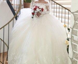 Hochzeitskleid Brautkleid mit Schleppe+2 Schleier zum schnüren Cinderella Gelinlik XS-M
