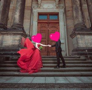 Hochzeitskleid, Brautkleid, Verlobungskleid, Gr.S/M, Rot