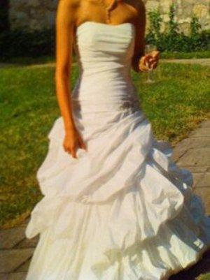 Hochzeitskleid Brautkleid weiß glänzend XS S 34 36 trägerlos Bandeau Korsage