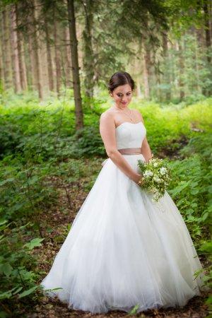 Hochzeitskleid Gr. 36 / 38 von Isabel de Mestre, Tüll schlicht schulterfrei
