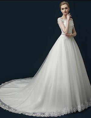 Hochzeitskleid Hof-Schleppe Tüll Applikationen Perlstickerei Rüsche