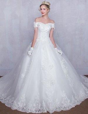 Hochzeitskleid Kirchen-Schleppe Tüll mit Perlstickerei Spitze