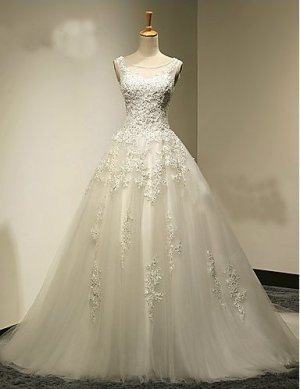 Hochzeitskleid Pinsel Schleppe mit Perlstickerei / Kristall / Perle