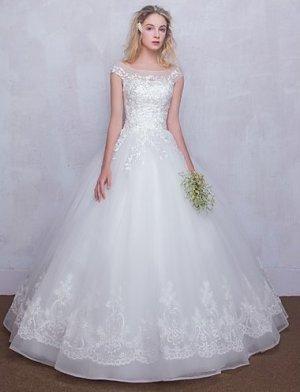 Hochzeitskleid Rundhalsausschnitt Tüll mit Applikationen Spitze