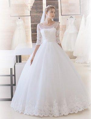 Hochzeitskleid Schleppe Rundhalsausschnitt Satin mit Applikationen