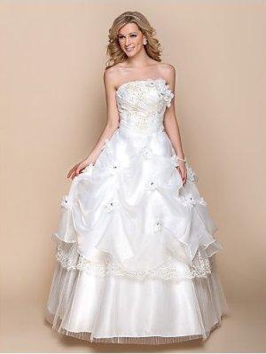 Hochzeitskleid Trägerlos Applikationen Perlstickerei Blume Gerafft