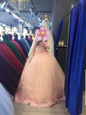 Vestido de novia albaricoque-rosa