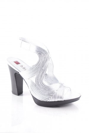 Högl High Heel Sandaletten silberfarben Metallic-Optik