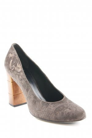 Högl High Heels grüngrau-bronzefarben Monogram-Muster Elegant