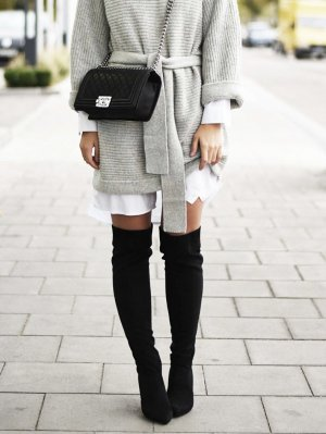 Högl Overknees Stiefel 36 schwarz Leder Überkniestiefel hohe Stiefel Boots