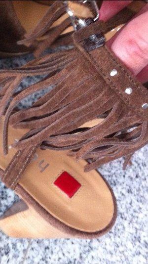 Högl Pumps ECHTLEDER Sandale NEU Sandalette Wildleder Fransen 38 braun NP:249€