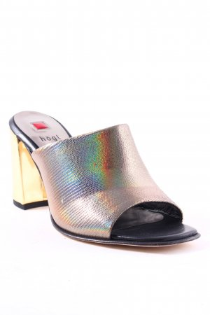 Högl Pumps goldfarben-schwarz Metallic-Optik
