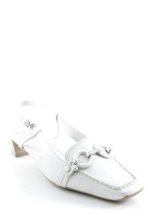 Högl Riemchen Ballerinas weiß-silberfarben Elegant