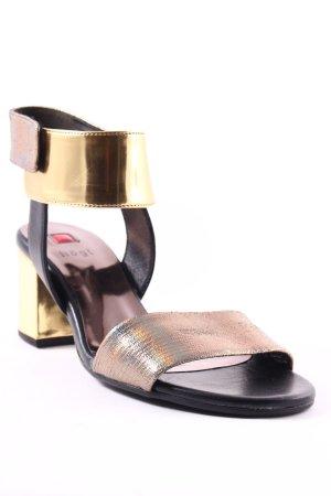 Högl Riemchen-Sandaletten schwarz-goldfarben Elegant