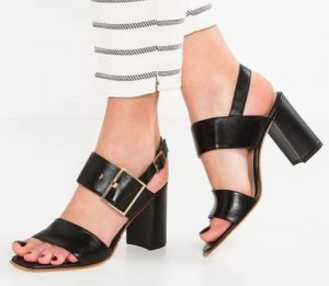 Högl High Heel Sandal black-gold-colored leather