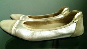 HOGAN Leder Ballerinas Gold Silber beige Gr. 38 - Super Zustand!