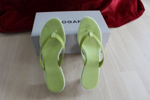 Hogan High-Heeled Toe-Post Sandals lime-green