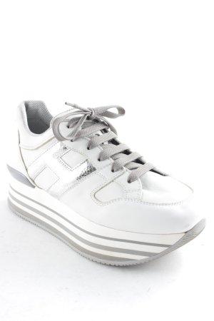 Hogan Schnürschuhe weiß-silberfarben extravaganter Stil