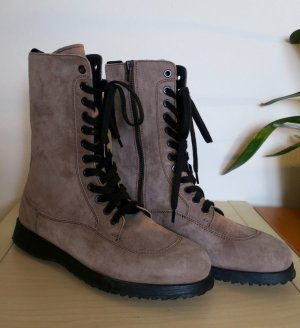 Hogan Lace-up Boots camel-silver-colored suede