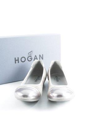 Hogan Ballerine à bride arrière beige-or rose style décontracté