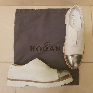 Hogan Sneaker Slipper Gr. 39,5 Neu mit Etikett Leder weiß / Silber