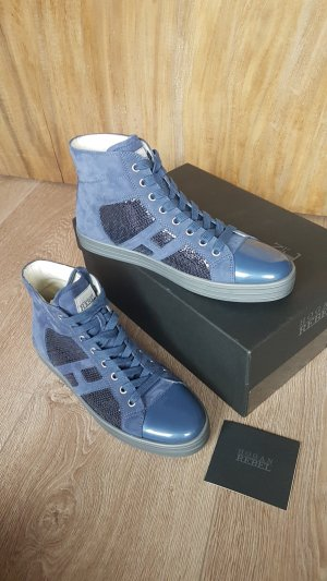 HOGAN TOD'S rebel chucks high top sneaker schuhe pailetten blau gr.40 neu