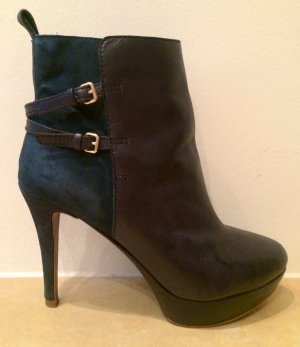 Zara Booties dark blue imitation leather