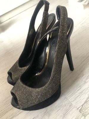 Hohe Sandalen Schuhe Absatzschuhe Pailetten Glitzer high heels