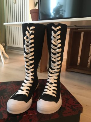 Lace-up Boots black-white
