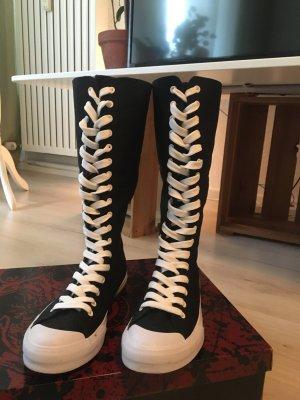 Botas con cordones negro-blanco