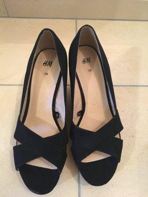 Hohe Schuhe Peeptoes mit Keilabsatz schwarz Gr. 38