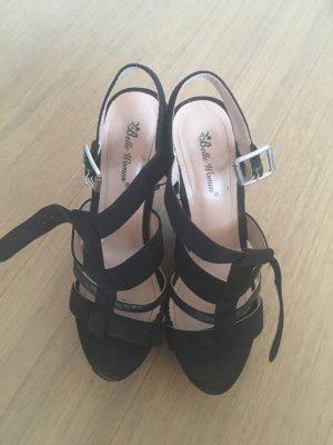 Hohe Schuhe Sandalen mit Absatz Plateau schwarz sexy Gr. 38