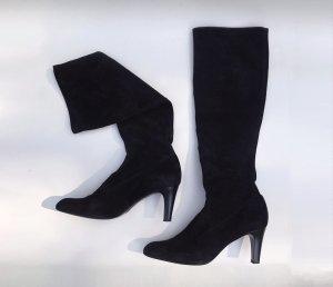 Hohe Schwarze Stiefel aus Wildlederimitat mit elastischem Beinschaft