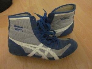hohe Sneaker - Retro - Boxerschuhe Asics Onitsuka Tiger Blau Weiß silber
