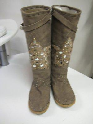 Wide Calf Boots camel-cognac-coloured imitation leather