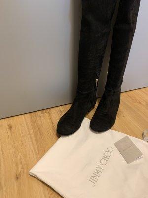 Hohe Stiefel aus schwarzem Stretch-Wildleder und Wildleder