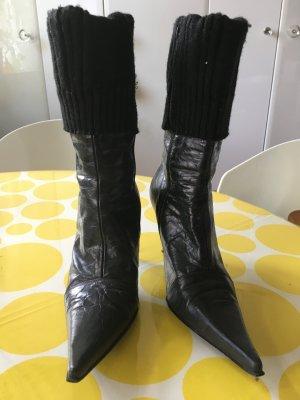 hohe Stiefeletten BUFFALO Gr. 40 m. Bündchen, schwarz, spitz & hoher Absatz, sexy!!!